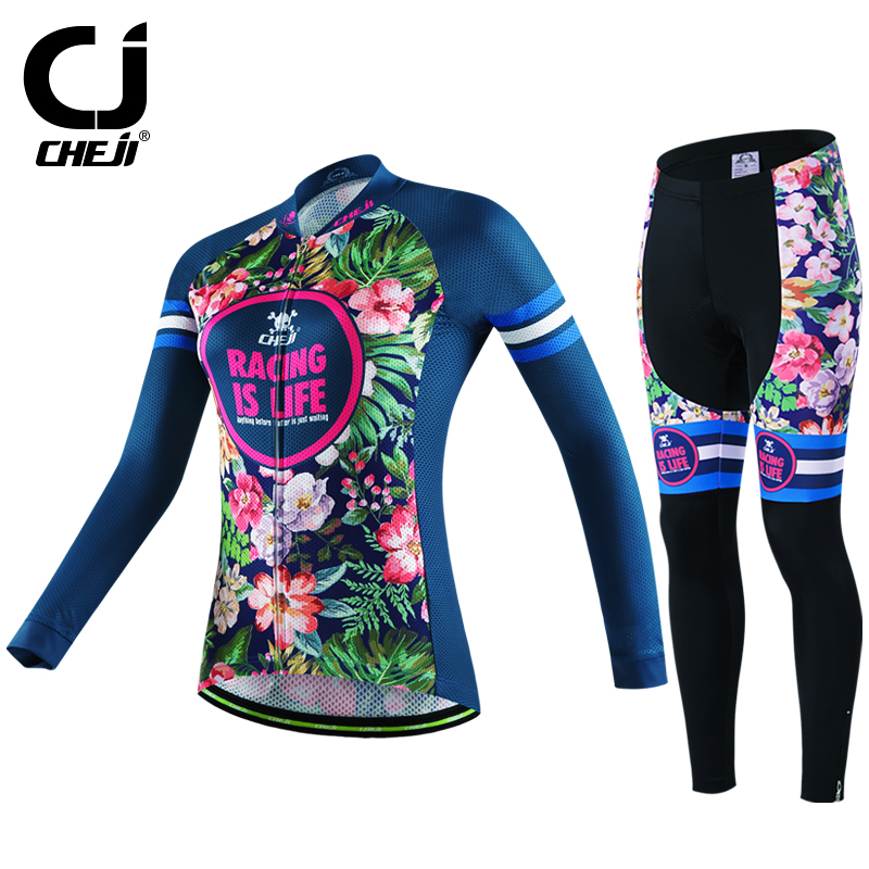 ФОТО CHEJI Women Long Sleeve Road MTB Cycling Jerseys Sets Slim Fit Bicycle Clothing Breathable Bike Cycling Jerseys Clothing Sets