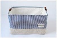 Naval stripe style Cotton Linen Desktop Storage Basket Sundries Storage Box Handle Linen Desk Container Makeup Organizer Case