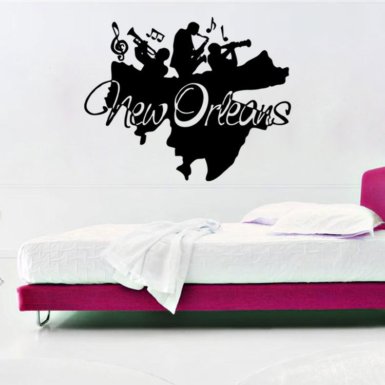 New Orleans Jazz Wall Art Mural Decor Sticker Band Lique Poster Home Decal Artisic Decoration Tattoo In Stickers From