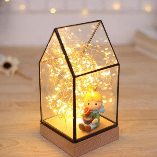 Glass display cloche domes led table lights night lamp for christmas glass display cloche domes led table lights night lamp for christmas wedding decoration usb gift keyboard keysfo Gallery