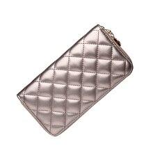 6 Farben Heißer Verkauf Top-qualität Mode Gewinde Muster Lange Design Reißverschluss Veranstalter Brieftaschen Geldbörse Bolso De Mujer STNG Silber