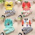 Детская одежда 2017 весна новорожденного мальчики девочки одежда мультфильм хлопок мальчик Набор одежды С Длинными рукавами ребенка девушка одежда