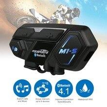 Bluetooth 4,1 M1-S мотоцикл Bluetooth гарнитура для шлема домофон до 8 всадников группы говорить мотоцикл водостойкие переговорные