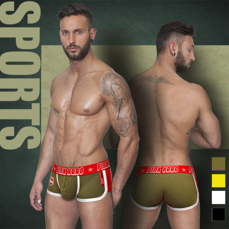 2015 New Arrived Brand Australia Pink Hero Fashion Men Underwear Side Spell Breathable Mesh Fabric Men Boxers