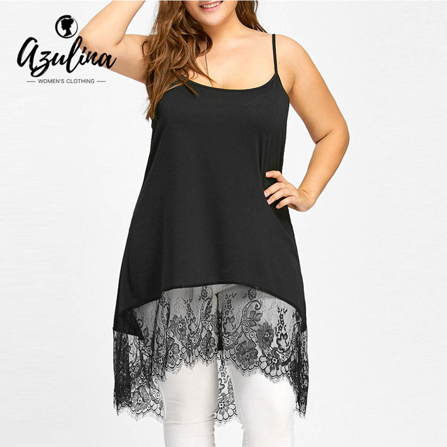 11e3a0915f09f2 AZULINA Plus Size High Low Lace Panel Cami Tank Top Women Long Tanks Ladies  Tops Sexy