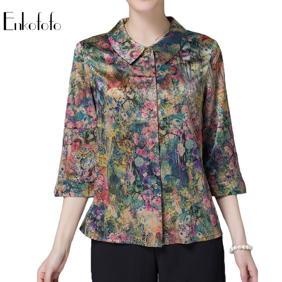2019 New Summer Pure Silk Blouse Women Tops and Blouses Three Quarter Sleeve Single Breasted Buttons Loose Shirt Blusas 3XL 4XL blouse