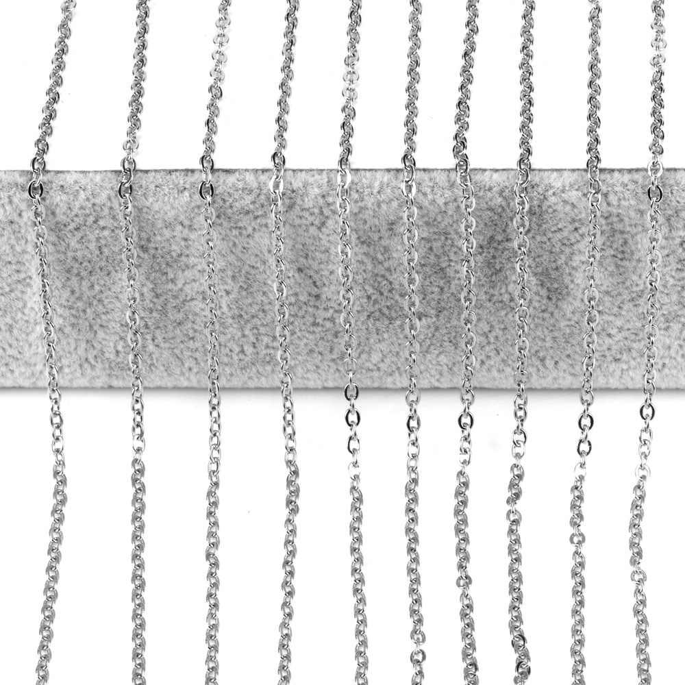 LUXUKISSKIDS 10 sztuk/partia naszyjnik łańcuch 2mm mężczyźni kobiety złoty/srebrny ogniwo ze stali nierdzewnej kubański łańcuch naszyjniki do tworzenia biżuterii