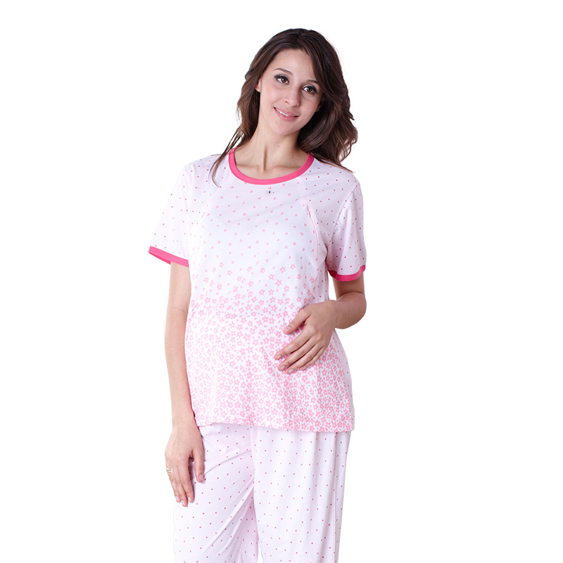 Cute Short Slevees Cotton 2 Pieces Maternity Clothes Maternity Sleepwear Breastfeeding Pajamas Nursing Pajamas Pregnant Lounge