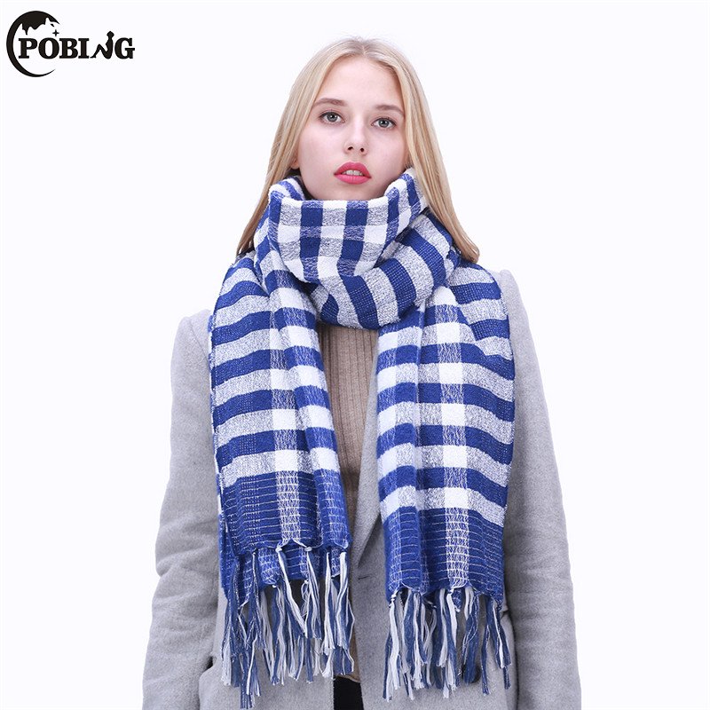 POBING 2017 Blue White Plaid Sliver Line Winter   Scarf   Women Cashmere Shawl Warm Blanket   Scarves     Wraps   Female Bufandas Pashmina