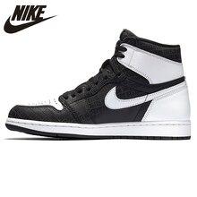 0c4f5fd44cf7 NIKE Air Jordan 1 Retro alta OG AJ1 Joe 1 de negro y gris reflectante 3 M  de Baloncesto de los hombres zapatos Zapatillas de dep.