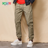 CARTELO Mens Slim Straight Classic Casual Pants 2017 New Fashion Stretch Cotton Chino Pants Long Trousers