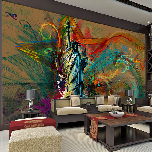 Custom large wall mural statue of liberty photo wallpaper for Abstract mural painting