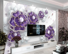 beibehang Stylish personality interior painting wallpaper beautiful three-dimensional flower jewelry wallpapers for living room