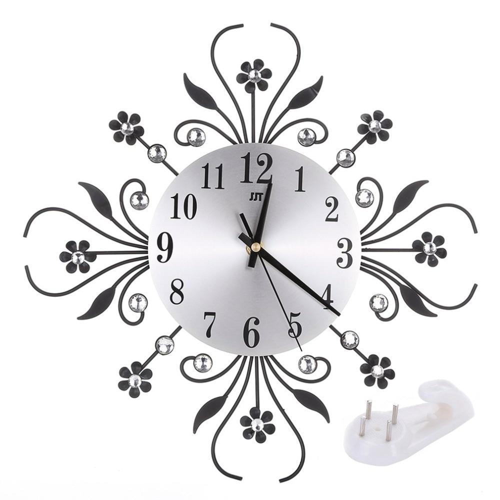 Silent Fashion Living Room Clock BZ443 European Style Quartz Movement Home Office Wall Clock Aluminum Mirror Clock
