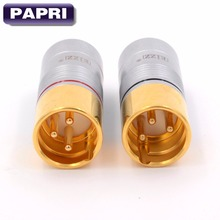 High end 3pin Male 24K Gold Plated XLR jack Balance Plug connector Audio 2PCS