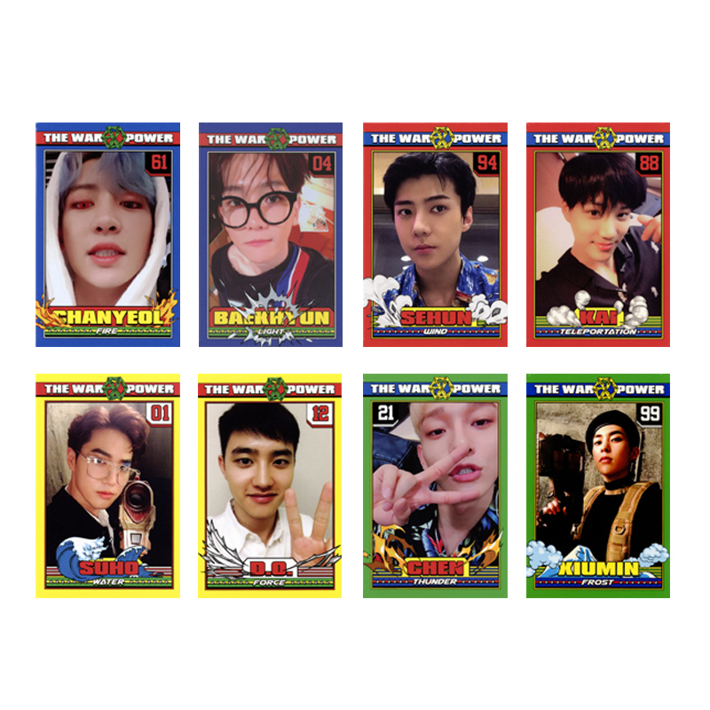 Youpop KPOP EXO THE WAR 4th The Power of Music Album Photo Card Hip Hop Self Made Paper Cards Autograph Photocard XK481