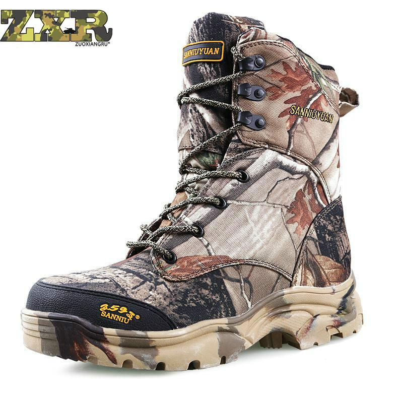 Camo Hunting Boots Camouflage Boot Waterproof Outdoor Tactical Camo Boot Hunting Fishing Hiking Shoes Plus Size 39-46(China)