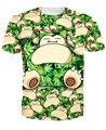 Monstro de Bolso Dos Desenhos Animados 3D Nova Moda Folha de Plantas Daninhas e Snorlax T-Shirt Tops de Verão T Camisas de Manga Curta Para As Mulheres e homens