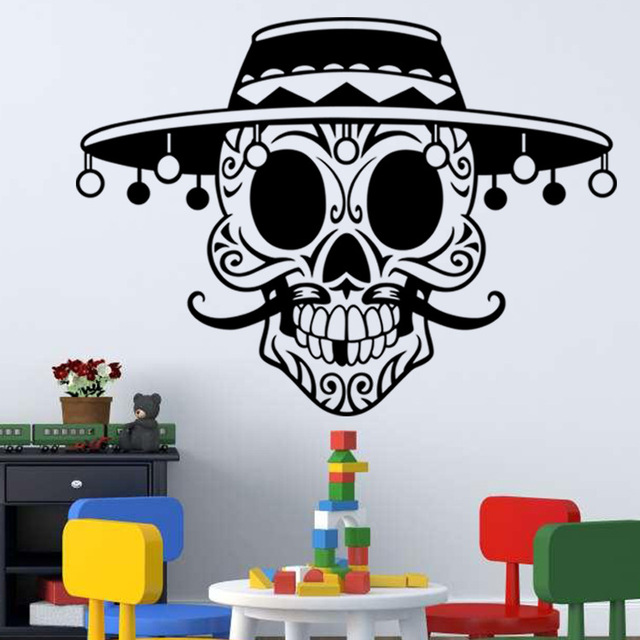 New arrive personality vintage hat 3d skeleton vinyl wall sticker boy room bar decoration home