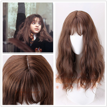 Film Hermione Jean Granger kahverengi dalgalı kıvırcık sentetik saç Cosplay kostüm peruk + peruk kap