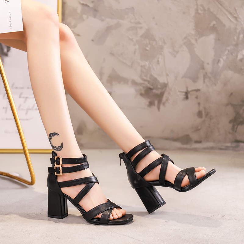 Women Sandals Ankle Strap Summer shoes Sandals Mujer Thick high heels Gladiator Sandals Women Sexy Pumps topuklu ayakkabi bayan in High Heels from Shoes