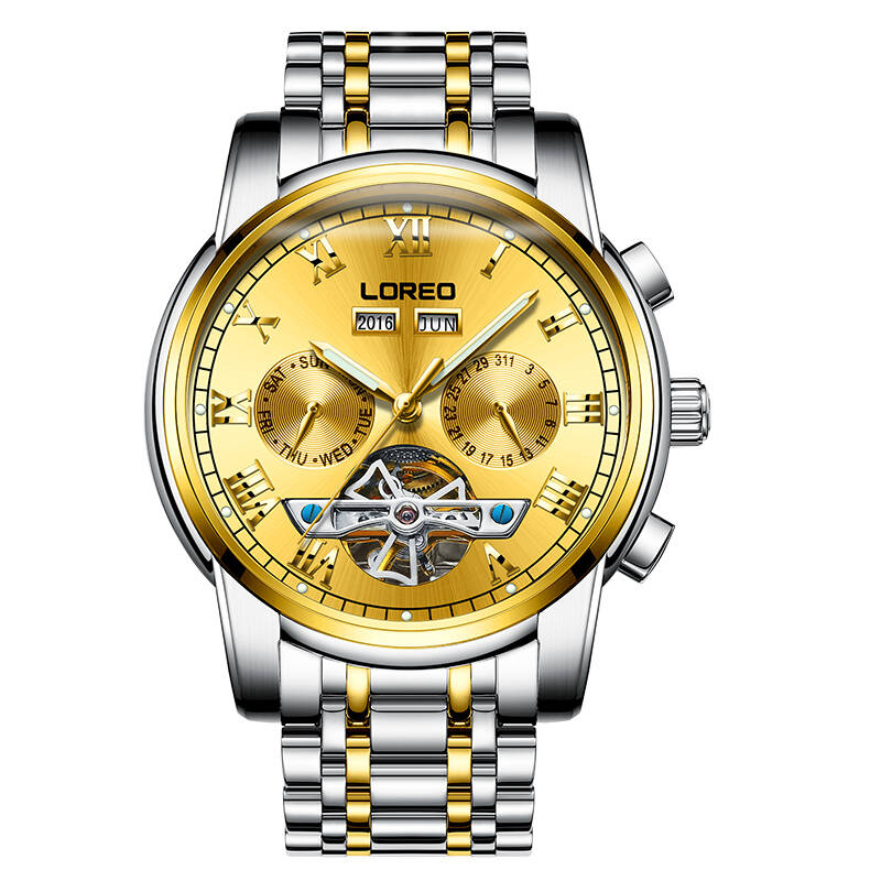 LOREO 6108 Germany watches men skeleton Tourbillon Luminous Waterproof Sports Mechanical Wristwatches Fashion Gold Business loreo watches men 2017 luxury luminous waterproof sports mechanical wristwatches fashion gold full steel hollow business watch