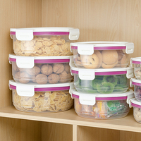 3PCS Round Transparent Food Storage Sealed Crisper Grains Tank Storage Kitchen Sorting Food Container