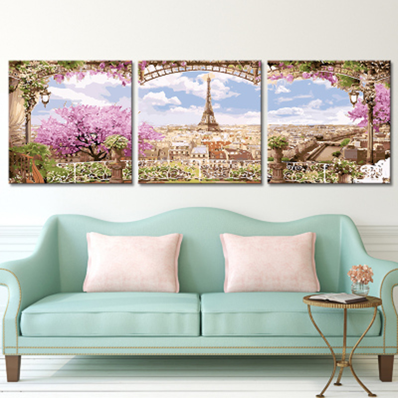 Living Room Digital Art: Oil Painting By Numbers Landscape Triptych Paintings For