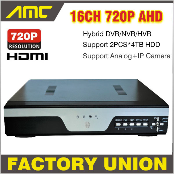 New 720P CCTV 16CH AHD H.264 DVR Realtime Recorder 16 Channel Hybrid HVR NVR SDVR Support Onvif Analog + IP Camera 3G WIFI 2*4TB 4 ch channel 720p ahd 7inch lcd hybrid hvr nvr cctv dvr recorder support ahd analog ip camera mobile phone viewing