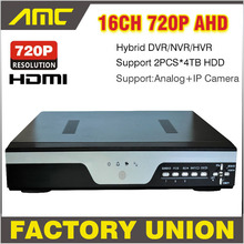 New 720P CCTV 16CH AHD H.264 DVR Realtime Recorder 16 Channel Hybrid HVR NVR SDVR Support Onvif Analog + IP Camera 3G WIFI 2*4TB