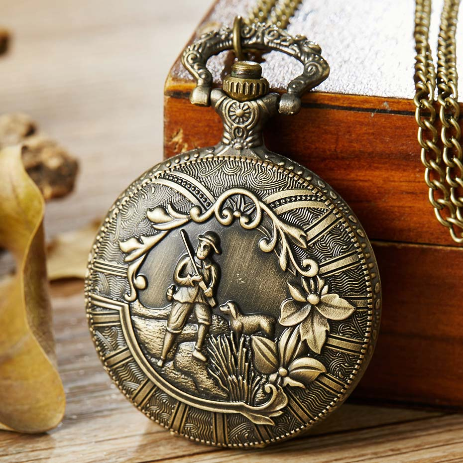 Vintage Hunter With A Dog Hunting Fullmetal Alchemist Quartz Pocket Watch Men Women Necklace Pendant Chain Steampunk Retro Clock