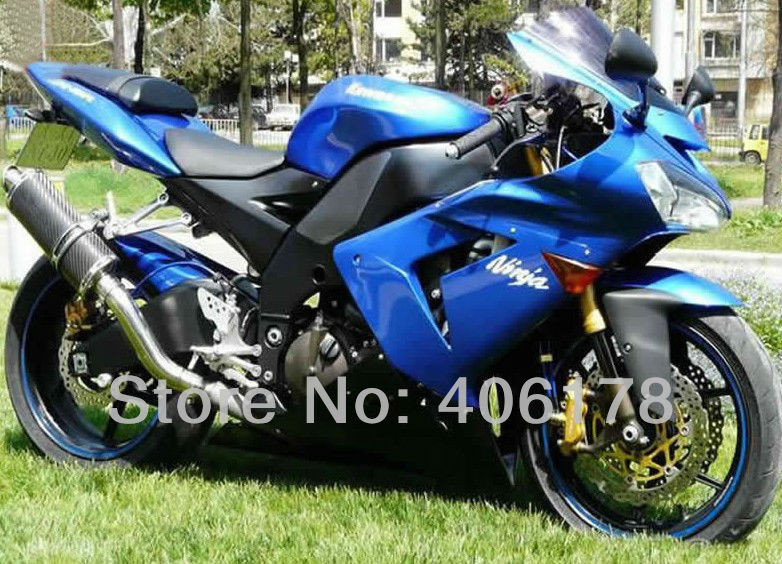 Hot Sales,zx 10r aftermarket parts For Kawasaki Ninja ZX10R 2004 2005 ZX-10R Blue Race Motorcycle Fairings (Injection molding)