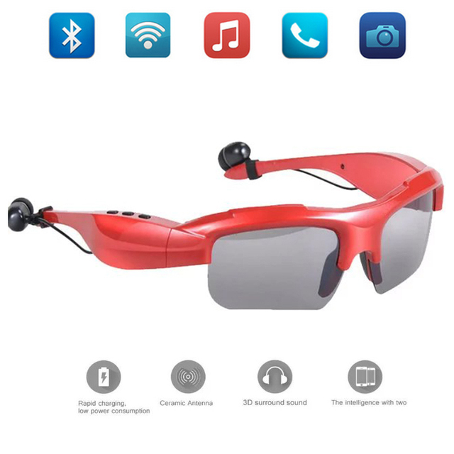 Wireless Stereo Sport Sunglasses Glasses Digital Glasses with Earphone Outdoor Headphone Earbuds Music  Mic Bluetooth 4.0