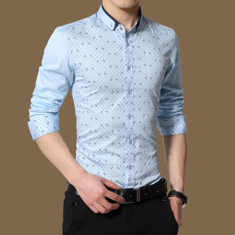 2018 Shirt Herrenmode Gedruckt Polka Dot Herrenhemden Baumwolle - Herrenbekleidung - Foto 4