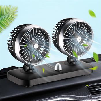 2019 nuevo ventilador de coche de doble cabeza de refrigeración interna potente ventilador eléctrico grande del coche del viento 12/24V para el maletero del coche