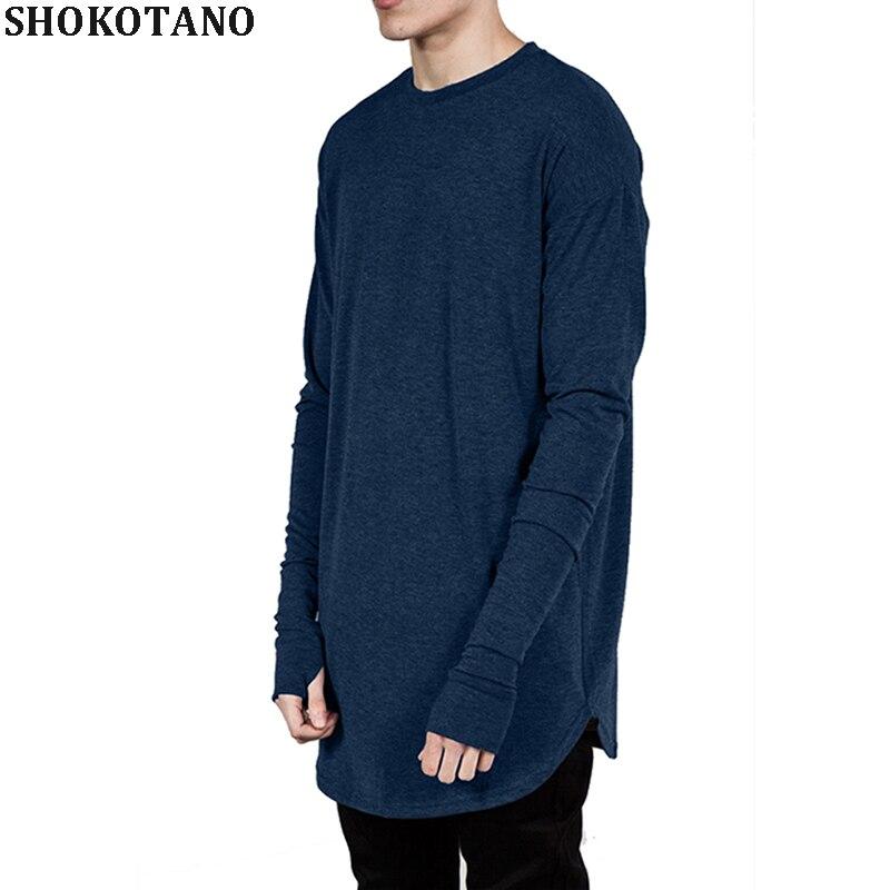 SHOKOTANO hombres pulgar agujero Hip Hop manga larga Camiseta Swag Hipster hombres  camiseta curva dobladillo largo f323a87fcf3