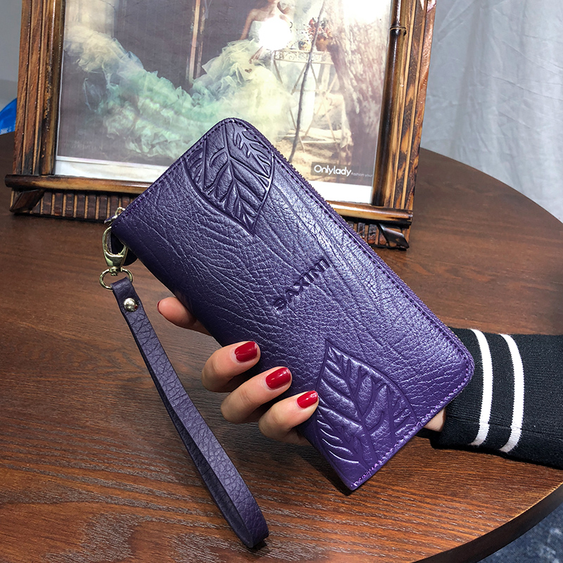 купить AOEO wallet women genuine leather for phone pocket coin holder wristlet calfskin wallets female Purse for girls Ladies Purses недорого