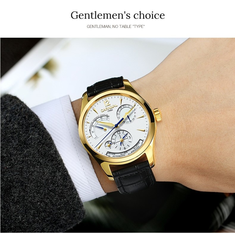 Original CARNIVAL Fashion Men Watch Top brand Multifunction Automatic Watch Men Calendar Waterproof Luminous Mechanical watches 9