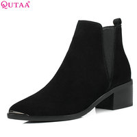 QUTAA 2018 Women Ankle Boots Pointed Toe Fashion Elastic Band Cow Suede + Pu Leather Square High Heel Ladies Boots Size 34 40