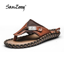 2019 Classy Men Leather Sandals Handmade Genuine Leather Summer Slippers Soft Sole Brand Mens Shoes Casual Plus Size 46 47
