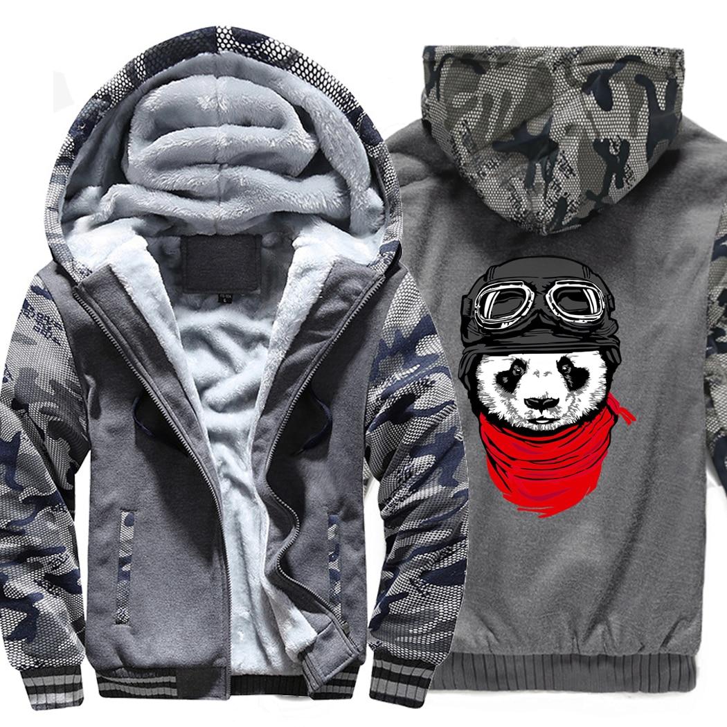 Harajuku hip hop brand clothes Hipster coats funny panda printed pilot hooded hoodies Newest 2019 men's fashion thicken jackets