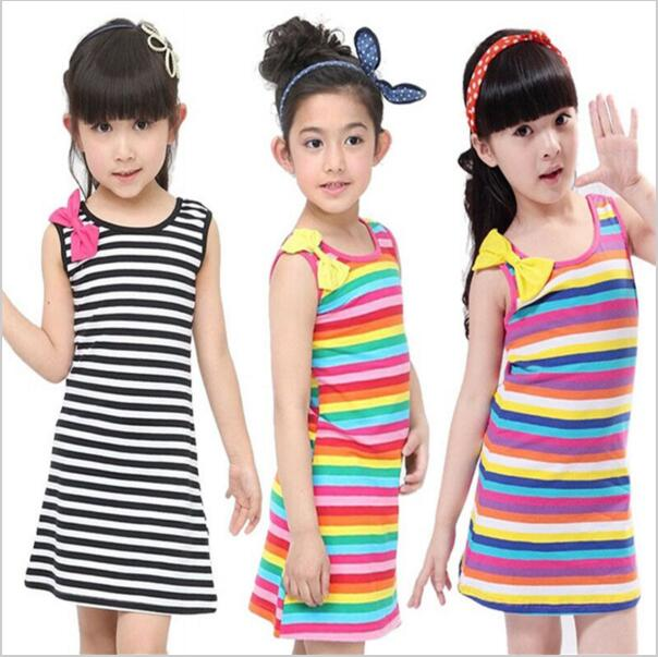 Kids Dresses for Baby Girls Clothing Set Vestidos Cotton Bow Striped Sleeveless Children Clothing Summer Dress 7-11 Years Old  high quality casual cotton striped dress for girls teenagers kids summer sleeveless soft vest vestidos children costume