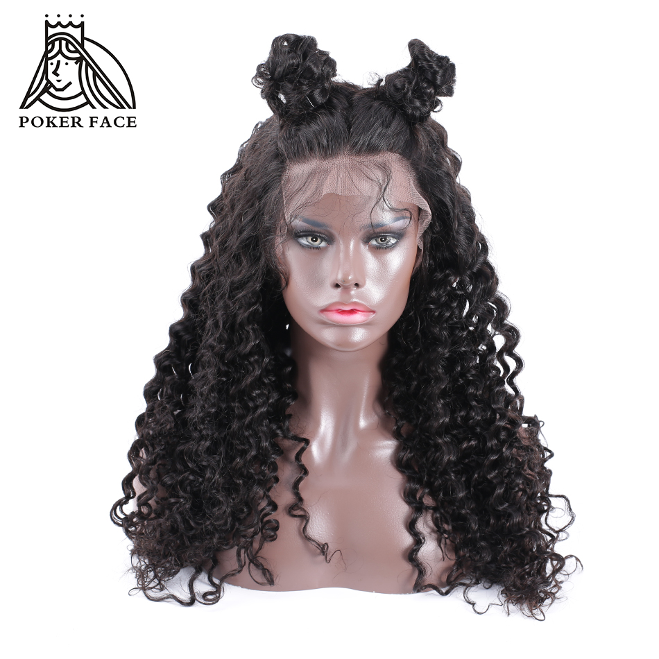 Poker Face Deep Wave Lace Front Wig High Density Brazilian Remy Hair Wigs with Natural Hairline
