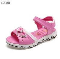 SLYXSH Girls Shoes Sandals New 2016 Hollow Love Bow Summer Shoes For Kids Girls Fashion Cartoon