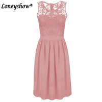 Summer Dress Women Sexy Sleeveless Solid Color Slim Large Size Dresses Fashion Casual Plus Size Lace