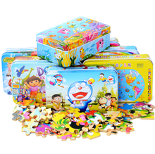 60 pieces 3D wood puzzle jigsaw iron box cartoon children early childhood education font b toys