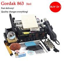 Gordak 863 паяльная станция BGA нагревательный паяльник инфракрасный Подогрев станция горячего воздуха 3 в 1 паяльная станция