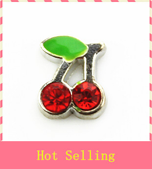 Hot selling 20pcs/lot crystal cherry floating charms living glass memory pendant lockets for diy jewelry