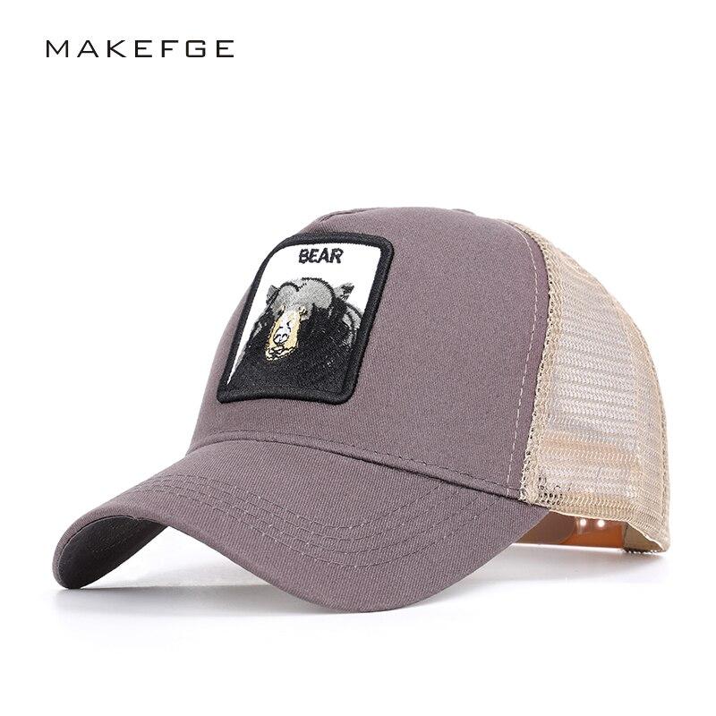 Animal KING bear Embroidery Men's Baseball Caps Spring and Autumn New Women's General Baseball Net hats Visor high quality bone