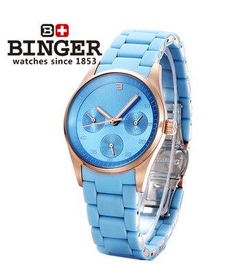 Switzerland Binger new blue love watch womans rose gold sports watches waterproof steel strap luxury fashion